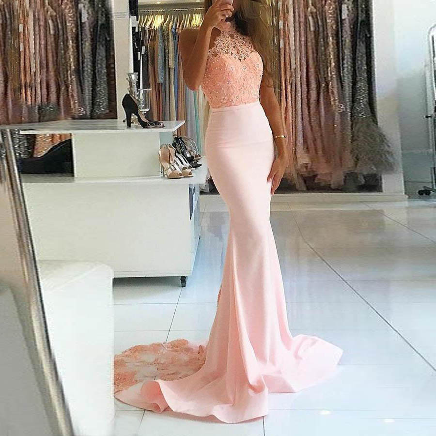 Halter Long   Prom     Dresses   Pink Spandex Sleeveless Mermaid Open Back Sweep Train Evening Formal Party   Dress   with Back Buttons