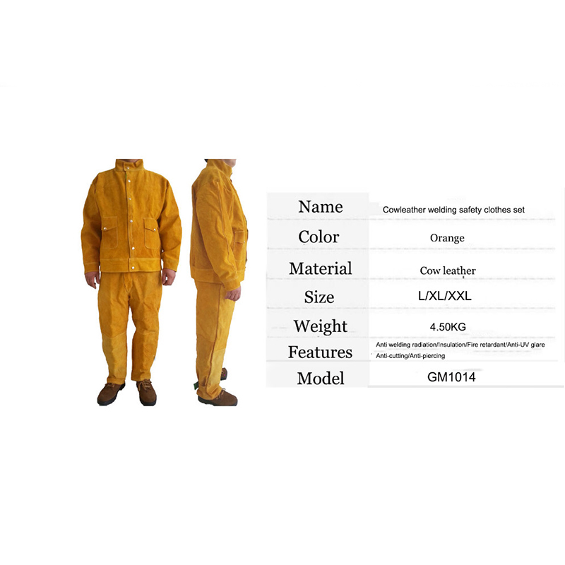 Image 2 - Cow Leather Safety Welding Jacket &Long Pants Protective Soldering Custome 500 Degree Heat Resistant GM1014-in Safety Clothing from Security & Protection
