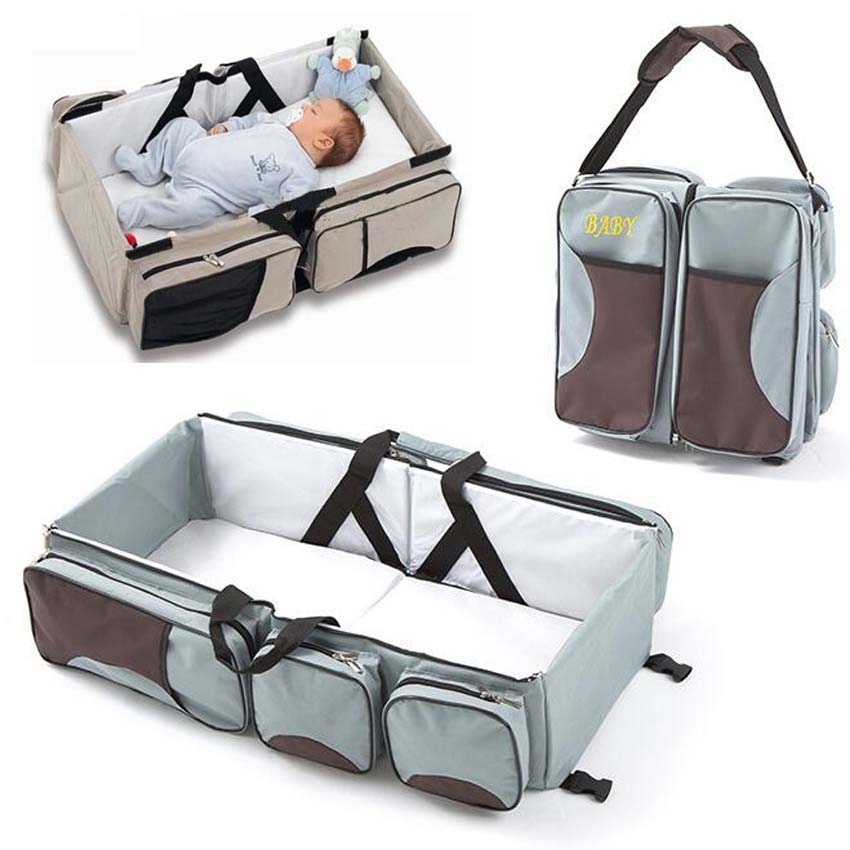 Multi-function Foldable Portable Baby Cot Large Capacity Mommy Shoulder Bags Travel Bed Oxford Cloth Large 0-3 Years Old