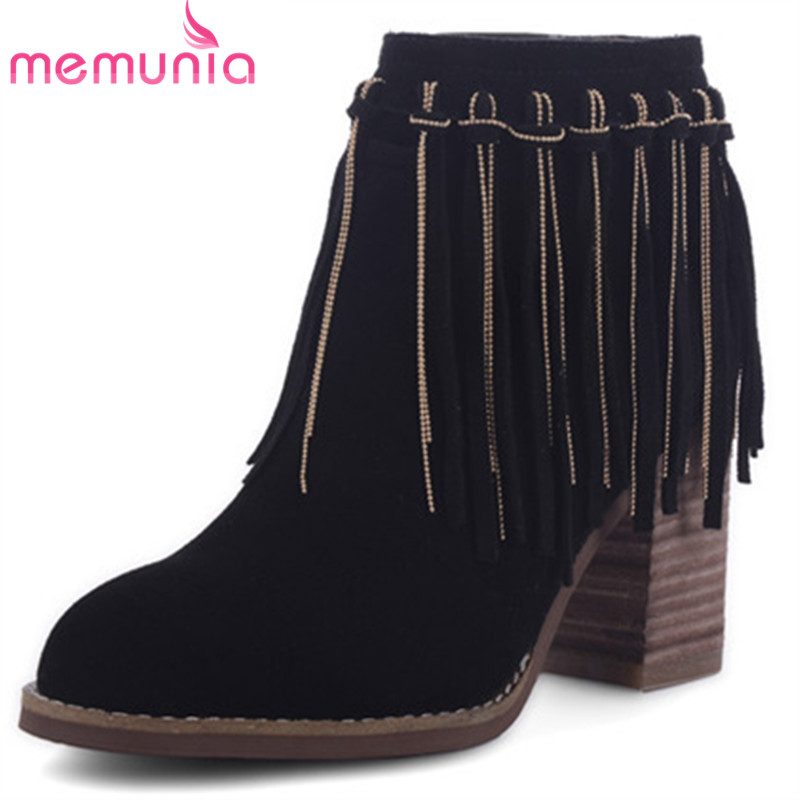 MEMUNIA Boots female fashion shoes tassel cow suede high heels shoes woman leather boots round toe ankle boots big size 34-43 front lace up casual ankle boots autumn vintage brown new booties flat genuine leather suede shoes round toe fall female fashion