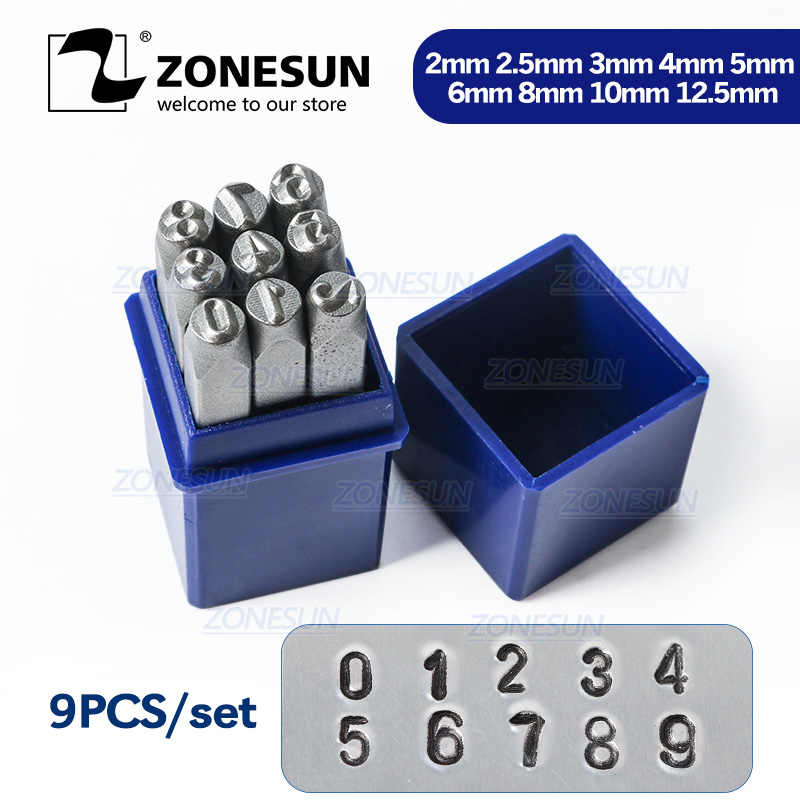 "ZONESUN 9PCS  Carbon Steel Antique Pewter Number "" 0-9 "" Rectangle Punch Metal Stamping Tools 65mm(2 4/8"") x 11mm, 1 Set"