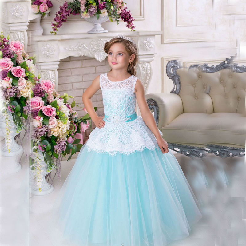 купить Sleeveless Tulle Lace Flower Girl Dresses for Weddings Ankle-Length Kids Pageant Dresses Glitz Ball Gown Mother Daughter Dresses дешево