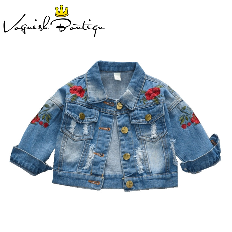 Baby girl clothes fashion girls dress long sleeve baby clothes floral printed denim coat fashion jacket