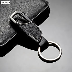 New Fashion Car Keychain Men and Ladies Leather Waist Hanging Key Chain Metal Key Ring Key Holder For Party Gift 17095(China)
