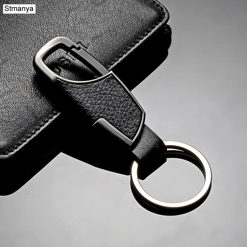 New Fashion Car keychain Creative Men and Ladies Leather Waist Hanging Key Chain Metal Key Ring For Man Woman Gift #17095 high grade metal creative car key chain