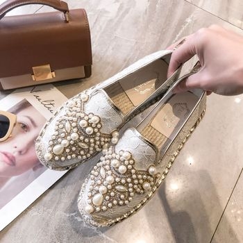 8079eac4f2af69 2019 Spring New Cloth Shoes Lace Flat Grass Braided Hemp Rope Fisherman  Shoes Female Pearl Rhinestones