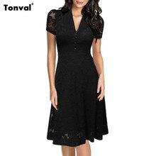 Tonval Womens Dantel Vintage Siyah Elbise Yaz Retro 1950 s Rockabilly Robe Seksi V Boyun Akşam Parti Zarif Salıncak Elbiseler