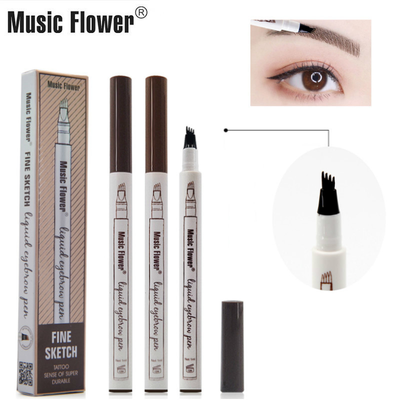 Music Flower Fine Sketch 4 Pointed Liquid Eyebrow Pen Long Lasting Waterproof tattoo Eyebrow Pencil Professional Brand 3 Colors in Eyebrow Enhancers from Beauty Health