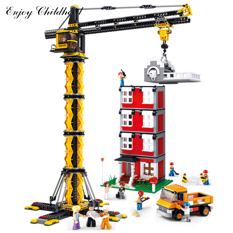 Sluban B0555 1461pcs Tower Crane Building Block Bricks Kits Classic Educational Kids Toys Hobbies Compatible Legoings City