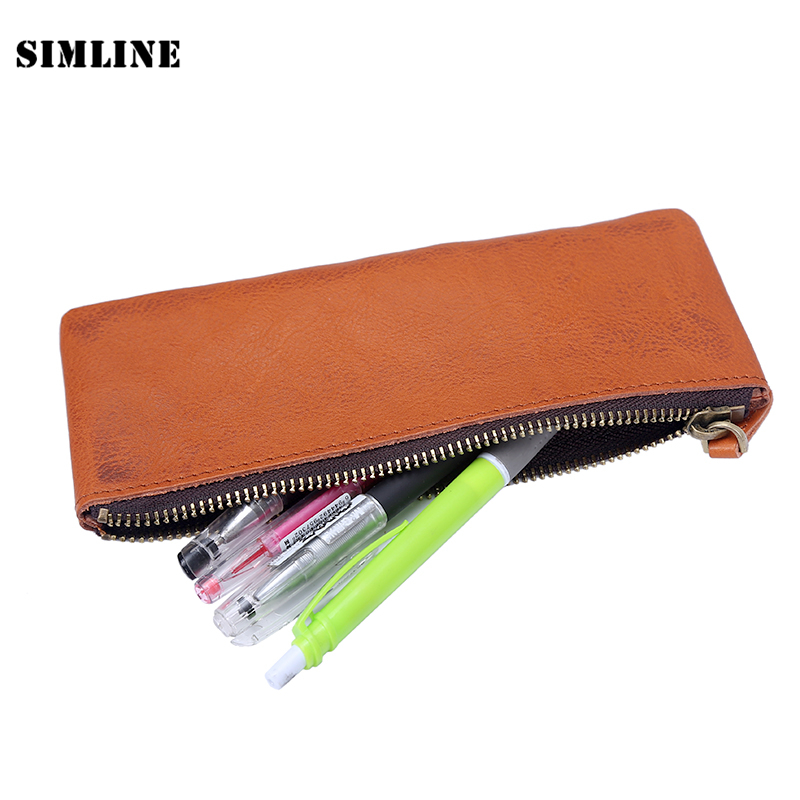 SIMLINE Vintage Genuine Leather Cowhide Zipper Men Man Women Boy Girl Long Pen Pencil Bag Travel