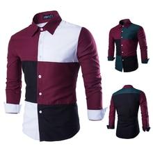 2016 New Multi-color Stitching Men's Plaid Shirt Camisas Masculina Blouse Plaid Shirt Tommis Denim Shirt Brand-Clothing