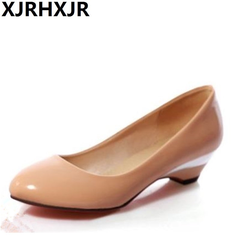 XJRHXJR Big Size 32-48 Low Thick Heels Women Pumps Patent Leather Round Toe Casual Career Spring Summer White Black Shoes Woman