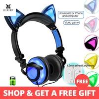 For PC Computer Mobile Phone Foldable Flashing Cat Ear Kids Headphones Gaming Headset Earphone With LED Light Earphones
