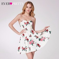 2018 Flower Printed Short Prom Dresses Ever Pretty EP05953WH Off Shoulder A Line Sleeveless Strapless Sweetheart