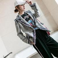 Fashion Brand Gray Twill Blazer 2017 Spring New Women S Korean Version Double Breast Small Suit
