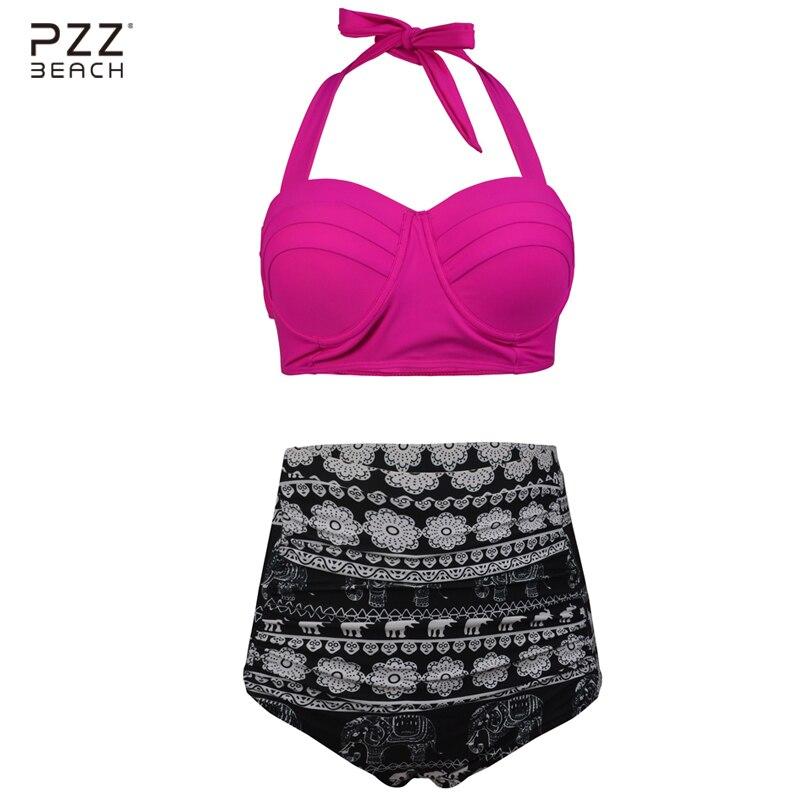 2017 Sexy Bikinis Women Swimsuit Push Up Halter Top Plus Size Swimwear High Waist Bathing Suits Bikini Set Vintage Retro Swim