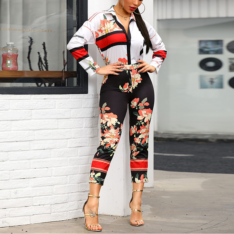Floral Sexy Jumpsuits for Women 2019 New Spring Long Sleeve Jumpsuit Casual Overalls Romper Women Monos De Mujer