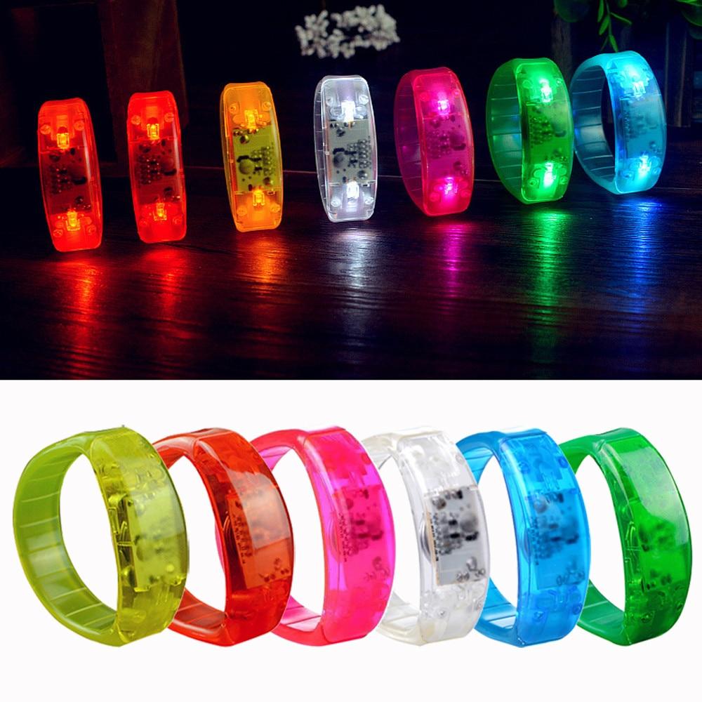 HIINST Flashing Voice Activated Sound Control LED Flashing Bracelet Bangle Wristband Night Halloween  P# Dropship