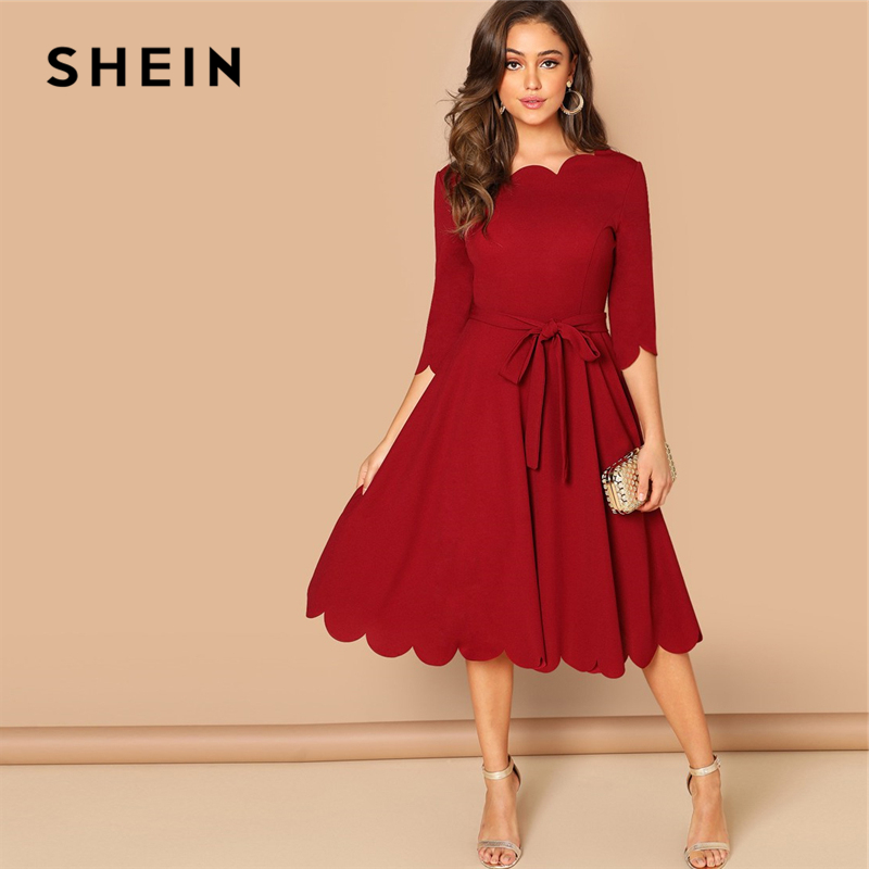 339bba5431 SHEIN Burgundy Elegant Party Solid Belted Scallop Edge Round Neck 3/4  Sleeve Fit And Flare Dress Autumn Women Knee Length Dress
