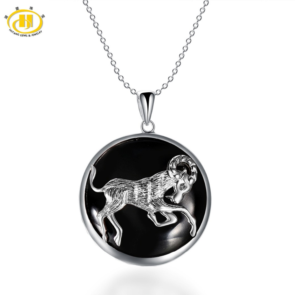 Hutang Star Aries Zodiac Natural Black Jade 23mm Pendant Solid 925 Sterling Silver Necklace free chain Women
