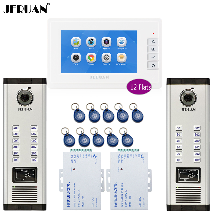 JERUAN 7`` Video Intercom Doorphone Record System Access Entry Security Kit For 2 Apartment Camera(12 Button)  To 12 Monitor