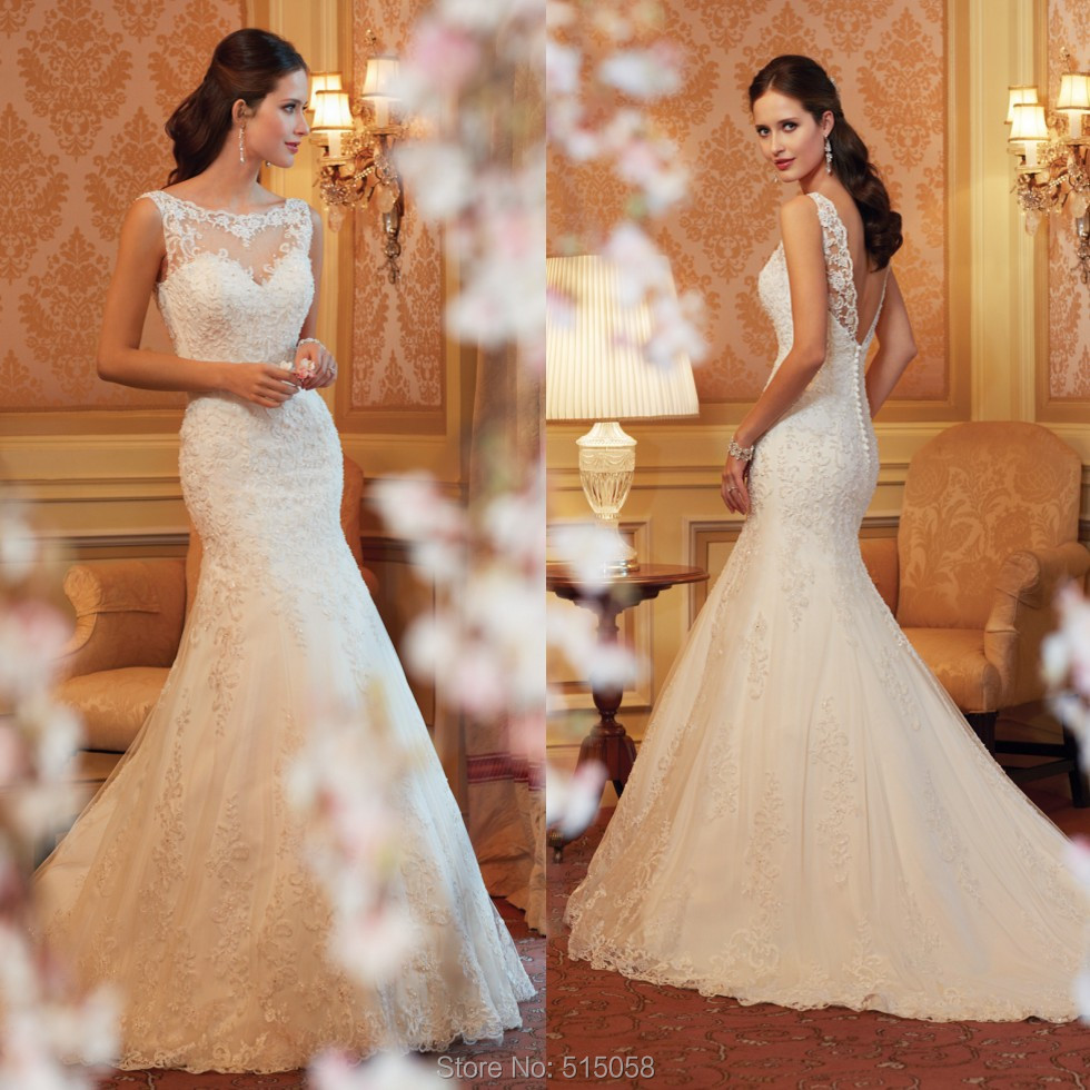 high neck open back ivory white wedding dress lace mermaid