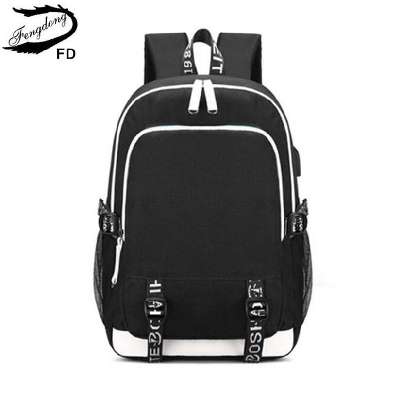 תרמילים - FengDong men minimalist waterproof travel laptop backpack black  and white school bags for boys teenage boy book bag schoolbag d1eff272f05f9