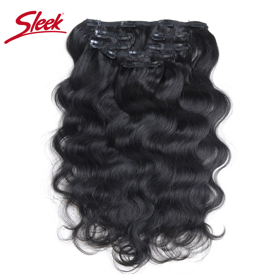 Sleek Hair 7Pcs Clip In Human Hair Extensions Brazilian Body Wave Natural Color Hair Full Head Sets Remy Hair Extension