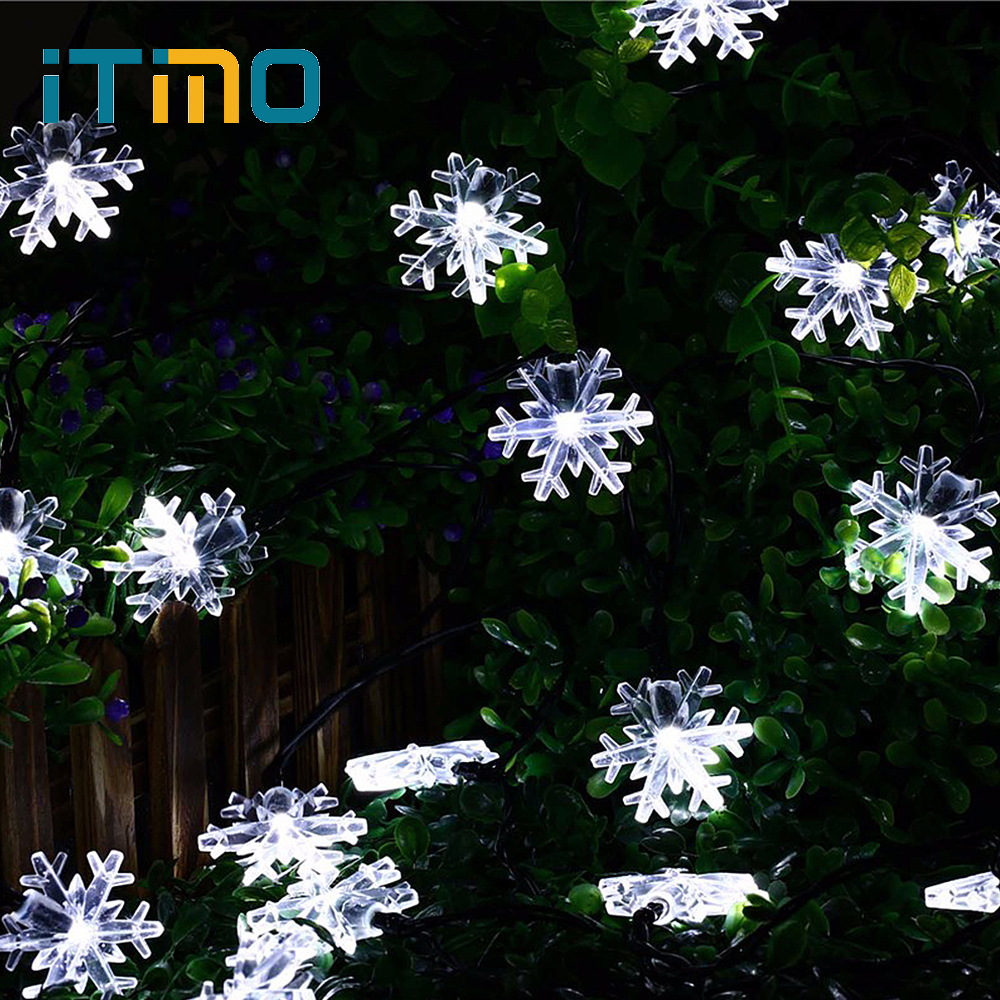 ITimo LED Christmas Lights Solar Snowflake Lamp Home Garland Decoration for New Year Party Wedding Curtain String Fairy Lights jiaderui usb rechargeable battery neon lamp new year christmas wedding decor lamp flamingo cactus moon cloud led home nightlight