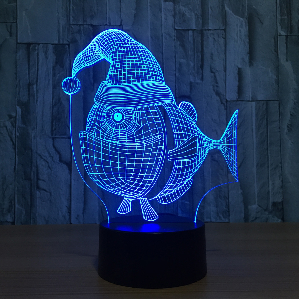 Lights & Lighting Lovely Novelty Christmas Hat Fish Model 3d Led Night Lights 7 Color Changing 3d Usb Table Desk Lamp Bedroom Sleep Lighting Xmas Gift