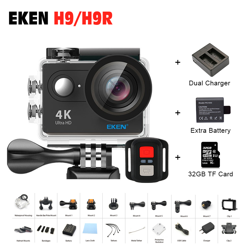 Original Eken H9/H9R action camera 4K wifi Ultra HD 1080p/60fps 720P/120FPS Go waterproof mini cam pro bike video sports camera original eken sports camera h9 h9r action camera 4k 25fps with remote 2 0 helmet ultra hd cam underwater go waterproof pro