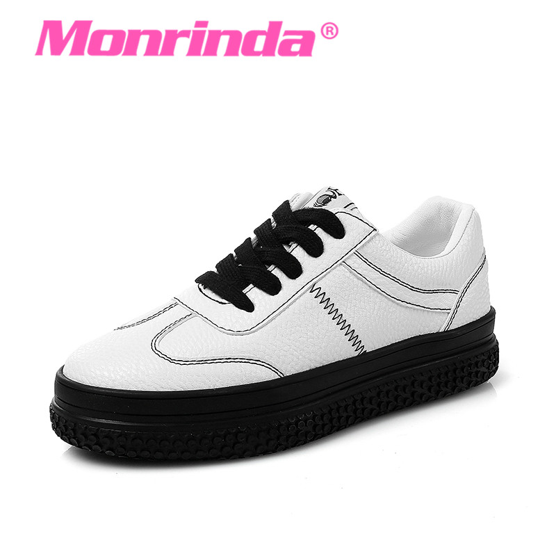 цена на Original Monrinda Women Sports Shoes Leather Walking Shoes Height Increasing 4cm Woman Sport Chaussure Footwear Running Sneakers