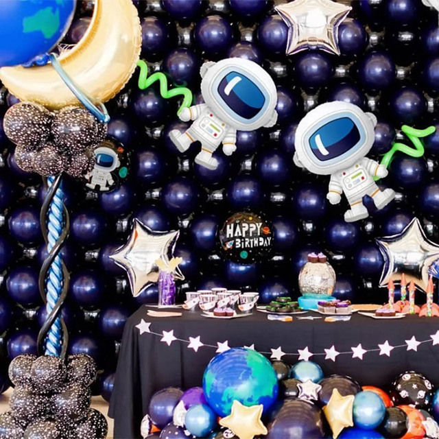 Outer Space Party Astronaut Rocket Ship Foil Balloons Galaxy/Solar System Theme Party Boy Kids Birthday Party Decoration Favors 4