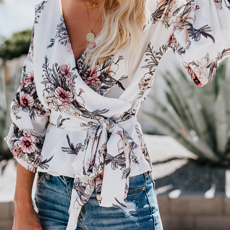 2018 Fashion Autumn Women Floral Print Blouse Lantern Sleeve V-neck Sweet Bow Sashes Blouse Casual Female Blouse Shirt zevrez 10