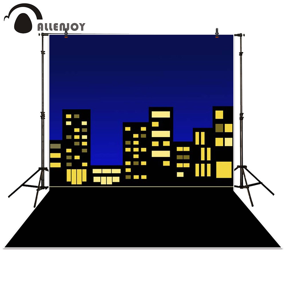 Allenjoy photography backdrop Building city night super hero baby shower children background photo studio photocall allenjoy vinyl photo studio background wooden river landscape stone backdrop picture children s photocall