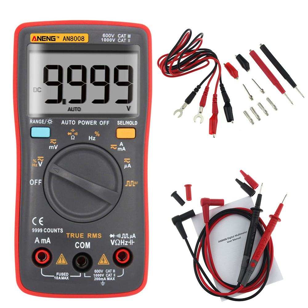 AN8008 True-RMS Digital Multimeter 9999 counts Square Wave Backlight AC DC Voltage Ammeter Current Ohm Auto/Manual tester probes