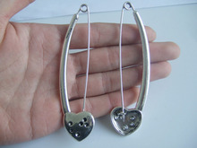 5Pcs Antique Silver Tone Large Heart Durable Strong Metal Shawl Kilt Scarf Safety Pin 95mm