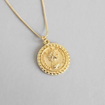 bb0954e569a6 Flyleaf oro Elizabeth retrato monedas collares y colgantes para las mujeres  2018 tendencia 100% ...
