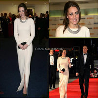 Kate Middleton 2017 Evening Dresses by Jenny Packham Celebrity Red Carpet Dress Vintage Jewel Neck Long Sleeves Evening Gowns