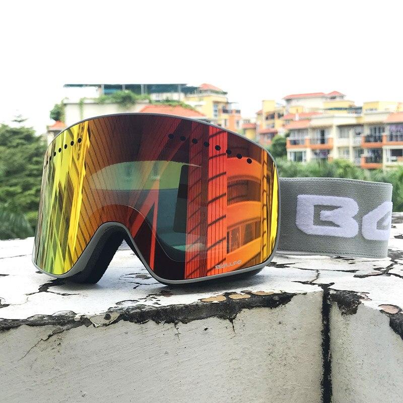Double couche magnétique lentille lunettes de Ski masques Anti-buée UV400 lunettes de Snowboard lunettes de Ski lunettes pour hommes femmes avec étui - 3