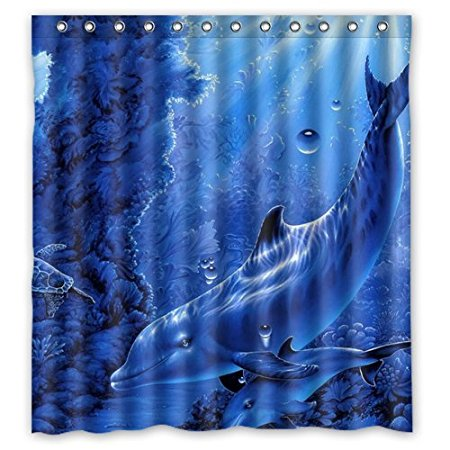 Family Christmas Gift Decor Blue Dolphin Undersea Waterproof 160x180cm  Bathroom Shower Curtain With Hooks(China