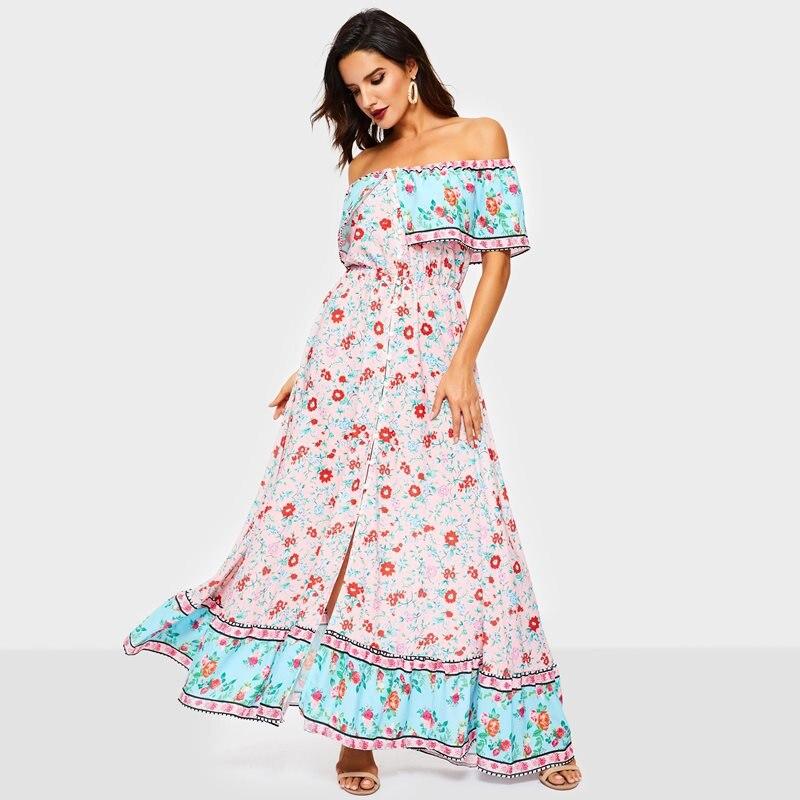 Été décontracté plage longues robes femmes Boho imprimé Floral doux élégant élégant Sexy hors épaule vacances Chic mousseline de soie Maxi robe