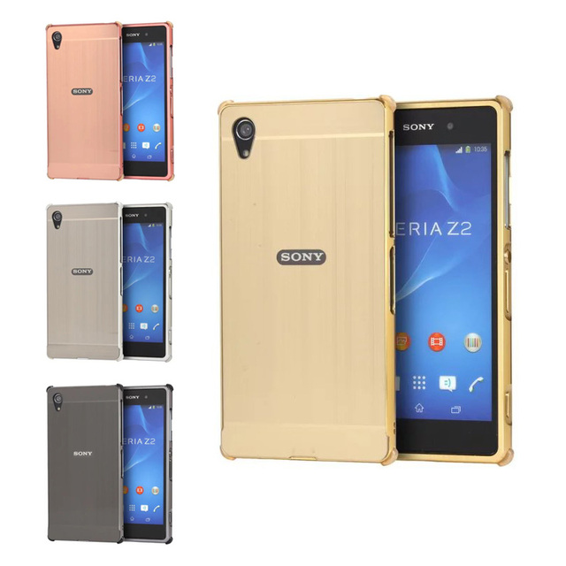 For Sony Xperia Z2 Z 2 Case Metal Frame with Brushed Back Cover Hard Phone Case for Sony Xperia Z2 D6502 D6503 D6543 L50 L50w