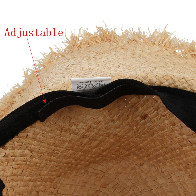 Əl istehsalı toxunuşlu Raffia Günəş Şapkası Qadın Qara - Geyim aksesuarları - Fotoqrafiya 5