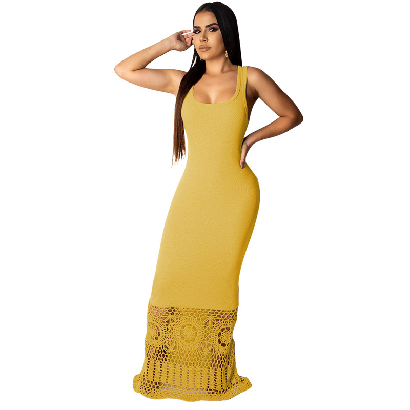 Summer new women 39 s solid color dress fashion casual stitching openwork lace sleeveless long dress white yellow black dress in Dresses from Women 39 s Clothing