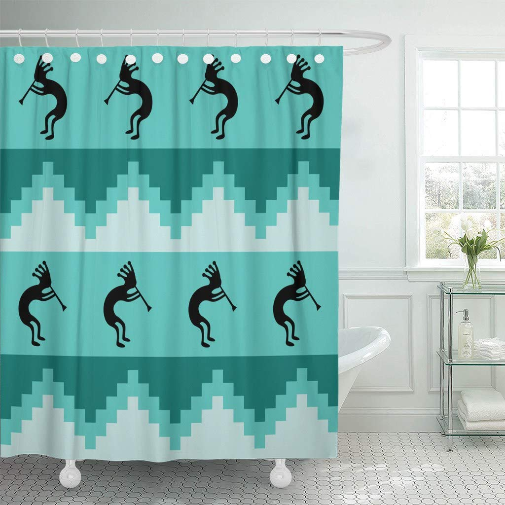Us 15 73 41 Off Fabric Shower Curtain Hooks Blue Southwest Southwestern Design In Cool Turquoise Colors Teal Aboriginal Aqua Bright In Shower