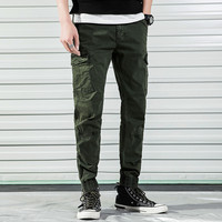 Mens Pant Sport Jogging Slim Casual Overalls Solid Color Workwear Male Army Green Micro Elastic Pantalon Homme Calca Masculina