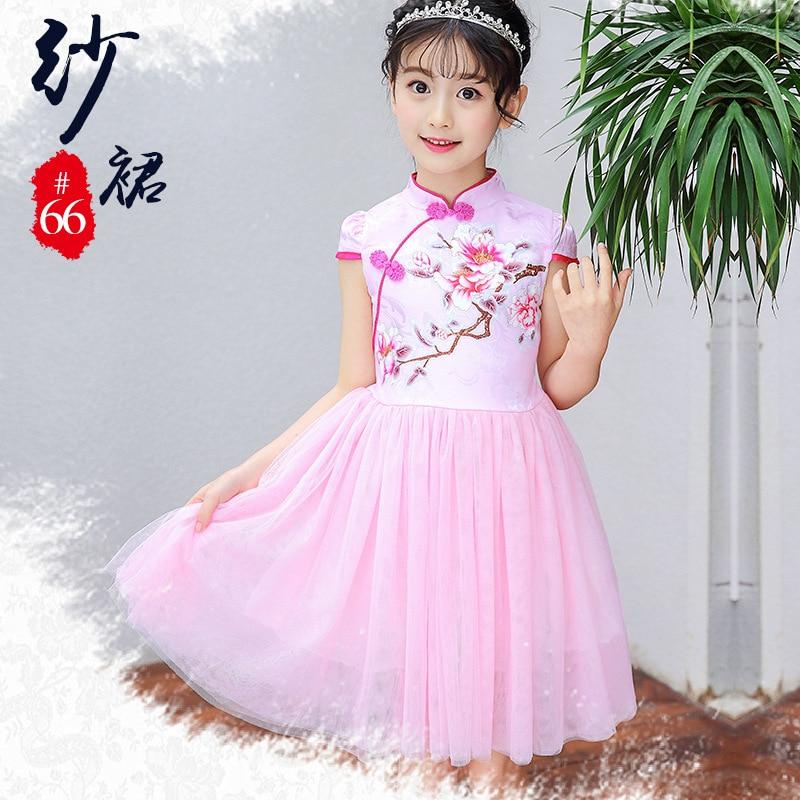 2316afac836d 2-10yrs Κινέζικα παραδοσιακά φορέματα Vintage Floral Embrodiery ...