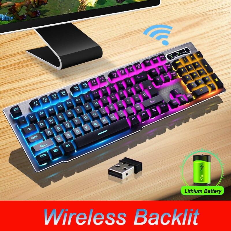 Teclado sem Fio Painel de Liga Adequado para Desktop Recarregável Backlight Gaming Carregamento Mk500 Mod. 1269469