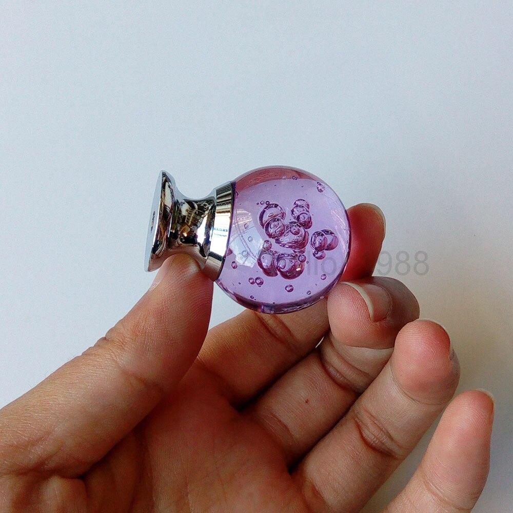 5 шт. фиолетовый 29 мм кристалл круглые ручки для шкафа; на ящики Ручка Шкаф ручки круглая ручка для комода круглые ручки H1283